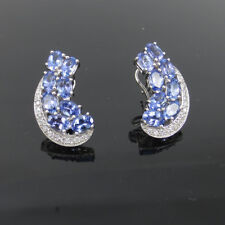 Tanzanite Oval And Diamond Earrings 22.36ct Cat Style 14k White Gold Finish