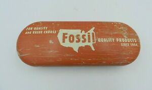 Vintage Fossil Metal Eyeglass Case Distressed Orange/White 2001 Quality Products