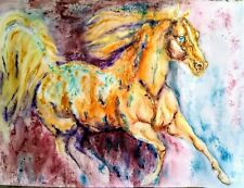 Horse art ,equestrian,equine colorful stallion original watercolor painting7x5""