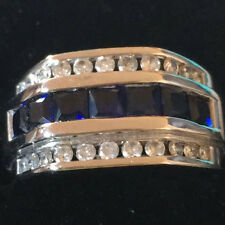 10k White Gold Sapphire and Diamond Men's Ring size 7.5