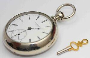 1880s ROCKFORD 18 size KEY WIND Pocket Watch - EXCELLENT & WORKS