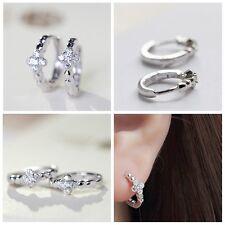 Women Silver Plated Zircon Earrings Cross Round Hoop Clip On Ear Stud Jewelry