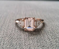 Vintage 2Ct Emerald Cut Morganite Simulated Diamond Ring Silver in Rose Gold Fns