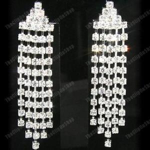 6cm CRYSTAL glass rhinestone DROP EARRINGS chandelier CLIP ON/PIERCED silver pl