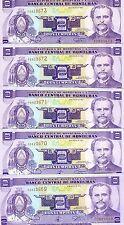 LOT Honduras, 5 x 2 Lempiras, 1994, Pick 72c, UNC