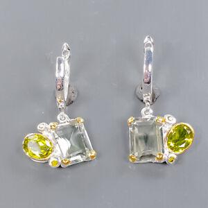 Jewelry Earrings Art Green Amethyst Earrings Silver 925 Sterling   /E57636
