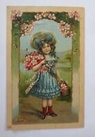 Geburtstag, Kinder, Mode, Blumen,   1907, Prägekarte  ♥ (65550)