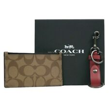 NWT COACH Boxed Zip Card Case Wallet Valet Key Fob Charm Gift Set Tan F79848