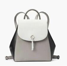 Kate Spade Wkru6391 Adel Black Gray White Leather Medium Flap Backpack