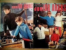 Patons Junior Aran knitting pattern Booklet, Boys, Girls Jackets, Sweaters, Card