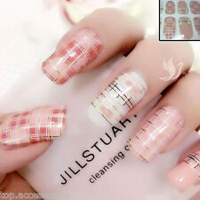 Pink Golden Checkered Nail Art Wrap Full Cover Stickers  #06155 Free P&P