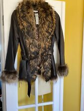 Cache Leather Fur Jacket Brown Size 4 Vintage Nwt