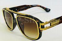 Fashion Aviator Gold Metal Plastic Frame Black Brown Lens Men Design Sunglasses