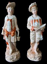Pair Antique German Bisque Porcelain Statues Figures Boy Girl Traditional Dress