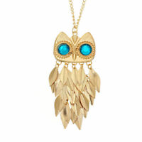 Women Fashion Owl Rhinestone Crystal Pendant Necklace Long Sweater Chain Jewelry