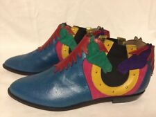 Vintage ZALO Leather Suede Cowboy Western Ankle Boots Shoes w/ Horses Blue 10 M
