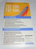 Southwest Airlines Boeing 737-300 737-500 Safety Information Card Revised 06/13