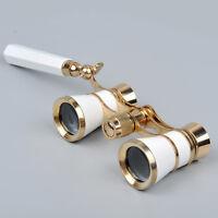 3x25 Opera/Theater Glasses Brass Binoculars Coated Optic Lens W/ Handle White