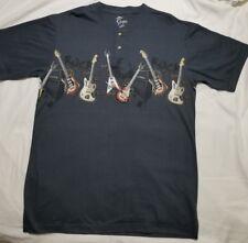 Reel Legends Medium Henley Tee Gray Shirt Cotton T-Shirt Guitars Short Sleeve