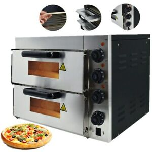 Electric Pizza Oven Double Deck Cooking Toaster Commercial Stainless Steel 3000W