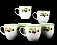 MIKASA OPTIMA Set of 6 Fine China Coffee Cups Mugs FRUIT RAPTURE Lemon Cherry
