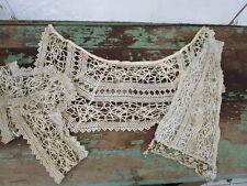 Antique Victorian Hand crochet collar cuff and bib front Salvaged pieces