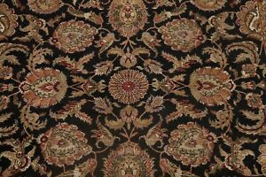 BLACK/BURGUNDY All-Over Floral Agra Oriental Area Rug Living Room Hand-made 9x12