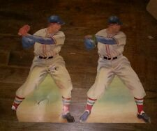 "(2) Rare 1940s Era BASEBALL CARDSTOCK DECAL MADE BY DENNISON 15""h X 9""w REDSOX"