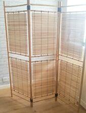 3 Panel Bamboo Room Divider Screen mid century Vintage retro cane design 70s