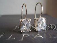 SILPADA RARE Sterling Silver 925 Rectangular Cubic Zirconia CZ Earrings W0353