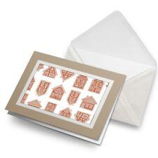 Greetings Card (Biege) - Gingerbread Houses Christmas  #21590