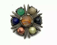 "VINTAGE Silver Tone Scottish COLOURED Agate Paste "" MIRACLE "" Circular Brooch"