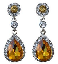 Long Drop Diamante Gold Dark Yellow, Clear Crystal Wedding Silver Stud Earrings