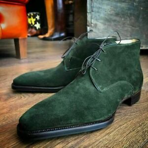Handmade Men's Chukka Boot, Men's green Suede Casual Chukka Lace Up Boot
