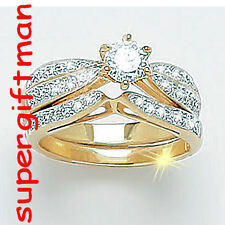 X047 - ensemble de DEUX BAGUES OR DOUBLE AM. / set ringen goud  DIAMANTS CZ T55