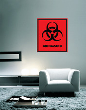 "Biohazard Danger Warning Sign Wall Decal Large Vinyl Sticker 24"" x 22"""