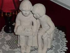 """AUSTIN PRODUCTIONS """"BRIGHT EYES """" SCULPTURE DEE CROWLEY SIGNED BOY & GIRL PUPPIE"""