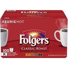 Folgers Classic Roast Coffee, Medium Roast, 100 K-Cups NEW