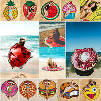 New Round 3D Cute Food Pattern Printed Beach Towel Toalla de playa redonda