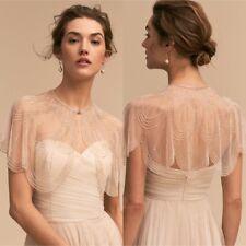 Luxry Beading White Bridal Boleros Wedding Jackets Brides Shawl Wraps Shiny Cape