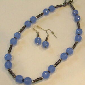 "Vintage Blue Jade Necklace Earrings SET Faceted 17"" Toggle"