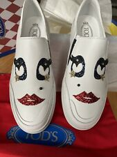 """NEW TOD'S  Leather Slip On Sneakers """"Lady eyes"""" Size 41/ white With A Face"""