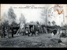 FORET de SENART (91) BUCHERON affutant HACHE à la MEULE / CABANE animée en 1906
