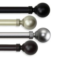 """Ball Curtain Rod 1"""" OD #10-01 choose from 4 colors and 5 sizes (28-240 inch)"""