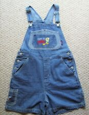 LOONEY TUNES Tweety Bird Embroidered Jean Denim Overall Shortall Womens Large L