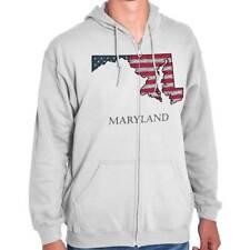 Maryland United States America Patriotic MD Zipper Sweat Shirt Zip Sweatshirt