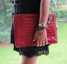 Lanvin Red Crocodile Croc Embossed Leather Clutch Bag as seen on Kim Kardashian