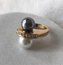 Park Lane Raquel Ring Size 5/6 GoldTone Cz White Gray Pearl Statement Rare