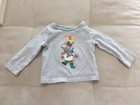 Mini Boden Gray Shirt Sz 3-6 Month Long Sleeve Cutie Animals