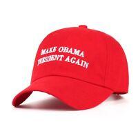 a1b376a3544 2018 Red Black Make Obama President Again Cotton Adjustable Baseball Cap  Beanies